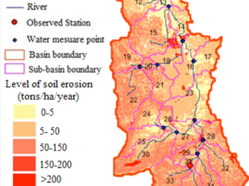 Soil erosion map at Ta Trach rive watershed from 2005 to 2010