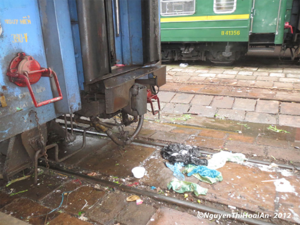 Waste from train at Hanoi main station