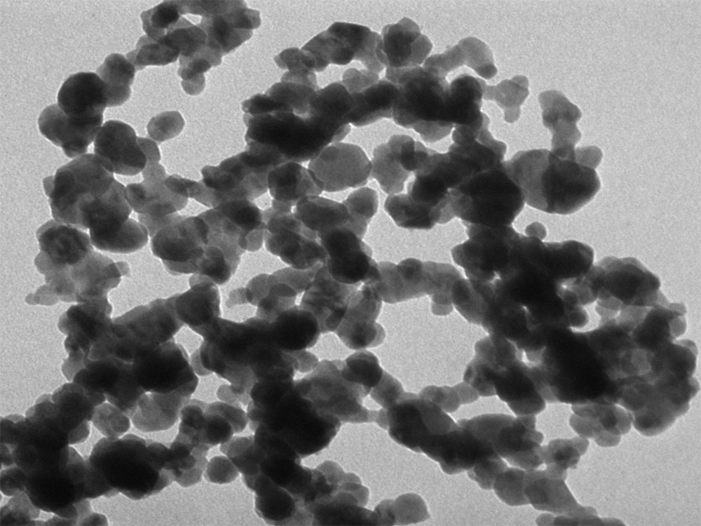 TEM image of nano-crystalline Cu prepared by the chemical reduction method