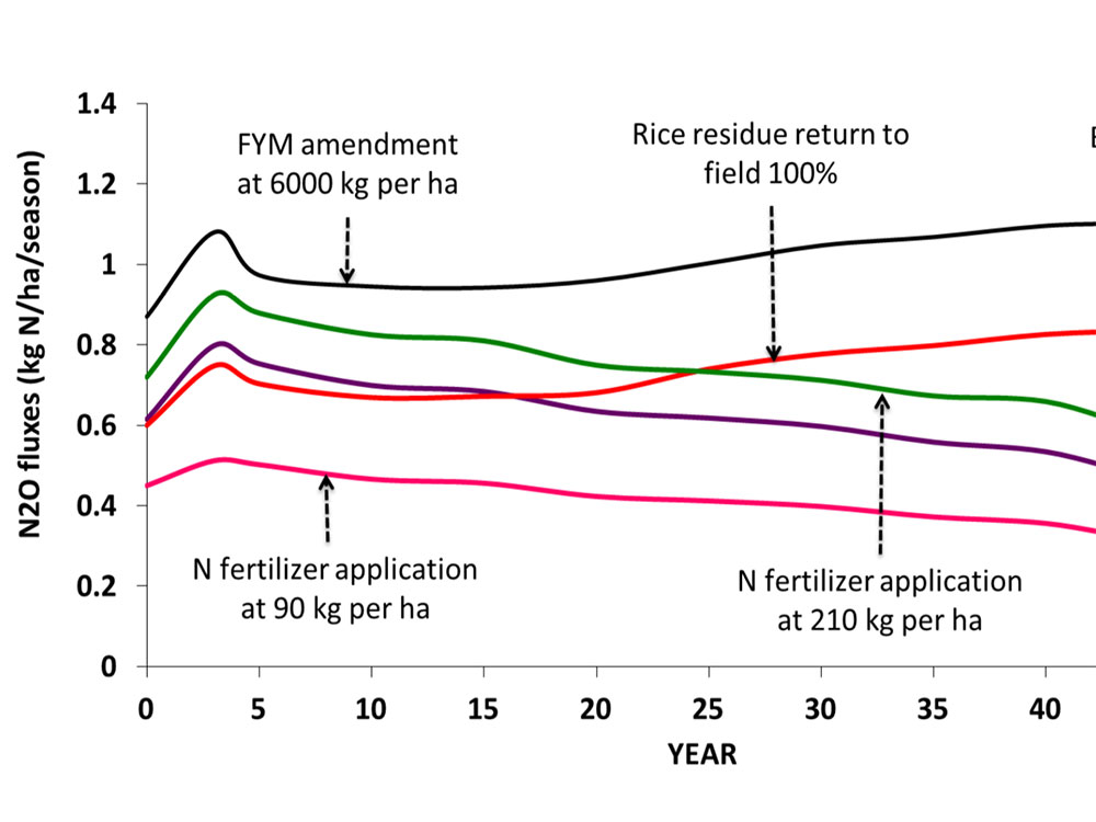 Impacts of management practices on long-term N2O fluxes