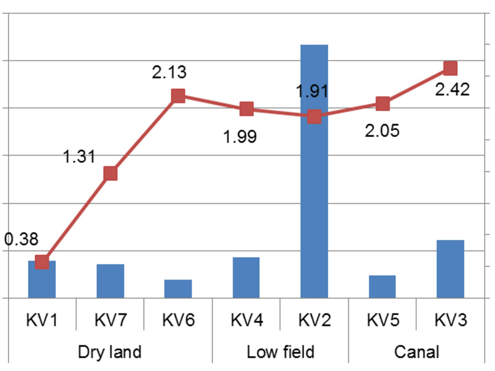 Relationship between the Zn concentration in soil and the diversity