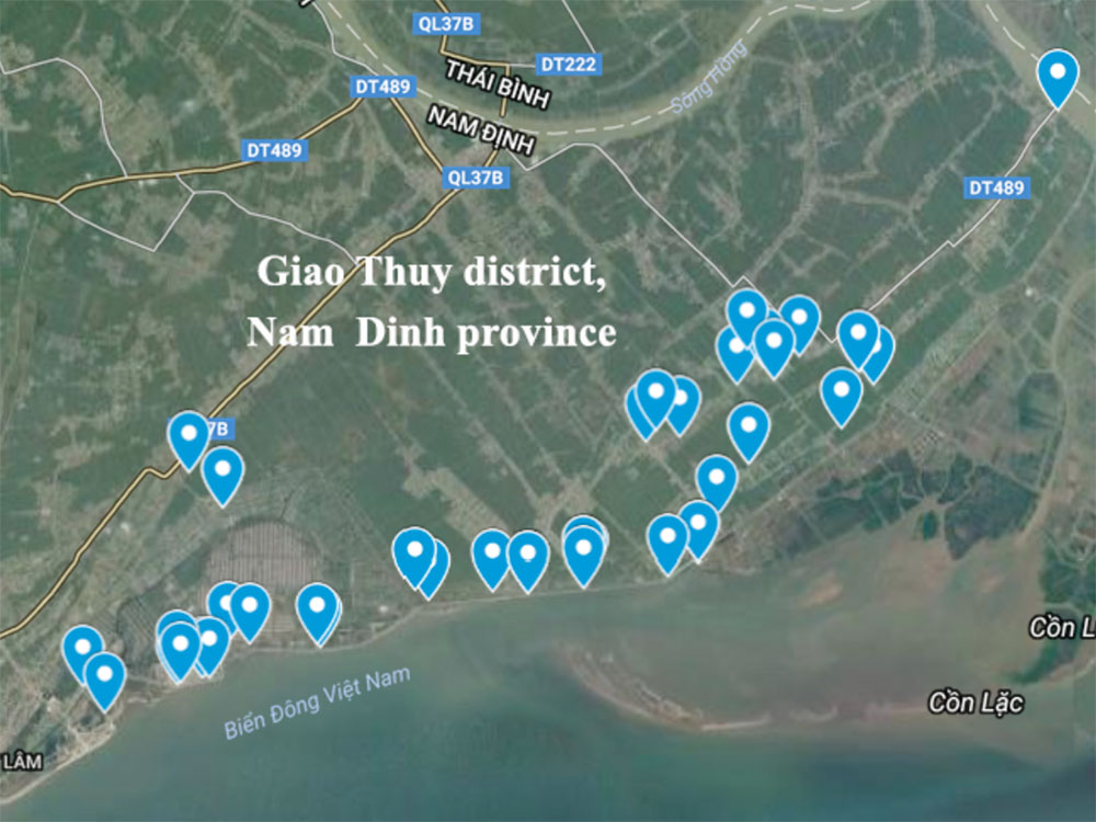 Sampling sites of different wastewater in coastal communes in Giao Thuy district