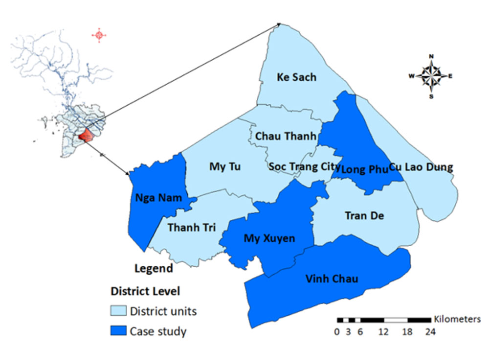 Location of Soc Trang province and study areas