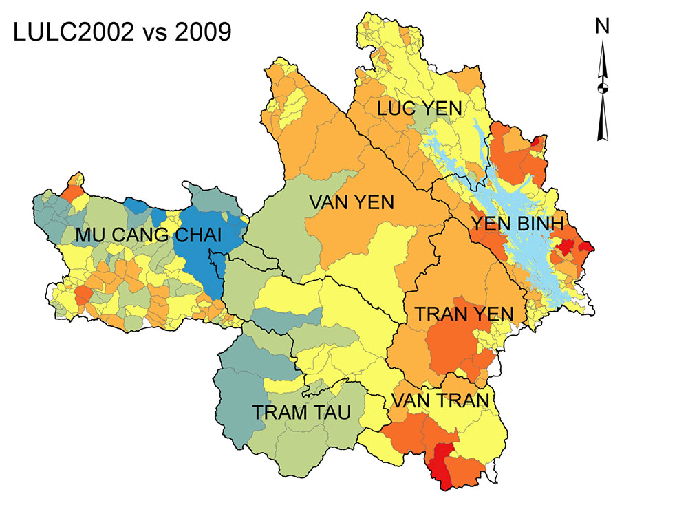 Map of soil erosion changes based on LULC2002 and 2009 conditions