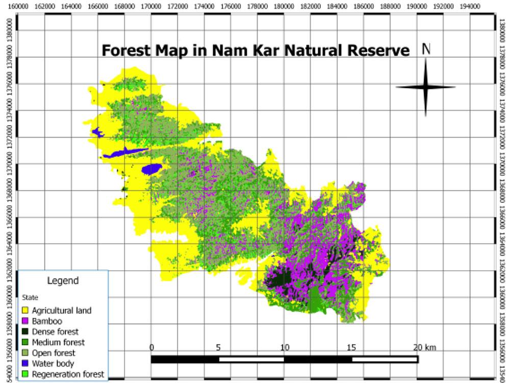 Forest maps of Nam Kar NR