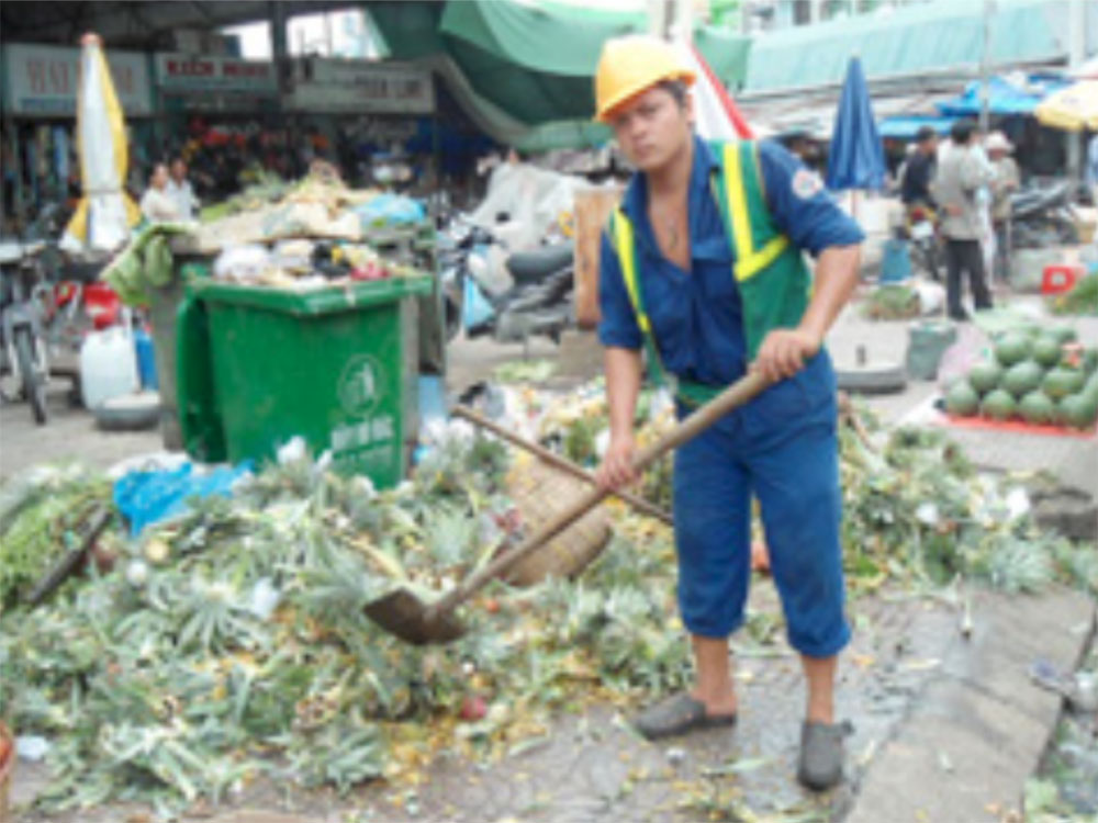 Waste collection in a market in Mekong Delta region