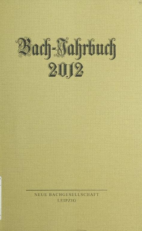 Bach-Jahrbuch 2012